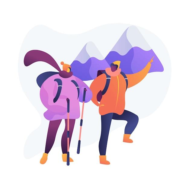 산악 탐험. 방황과 모험심. 휴가 배낭, 관광 산책, 여행자 등반. 알파인 피크에서 하이킹. 무료 벡터