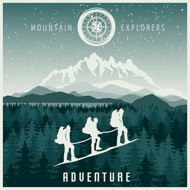 山探検家のイラスト 無料ベクター