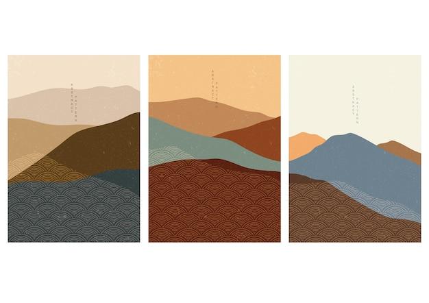 일본 웨이브 패턴으로 산 숲 배경입니다. 기하학적 패턴으로 추상 템플릿입니다. 오리엔탈 스타일의 가로 레이아웃 디자인. 프리미엄 벡터