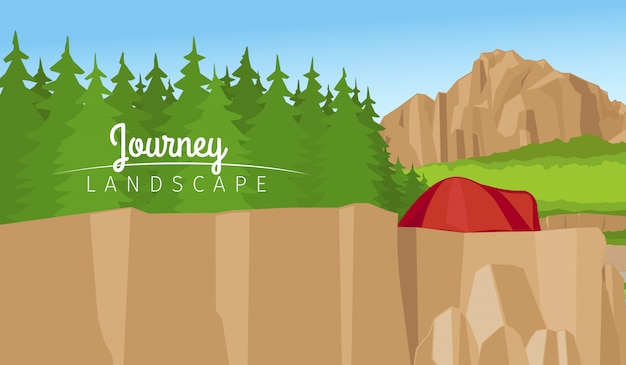 Mountain and forest landscape background Premium Vector