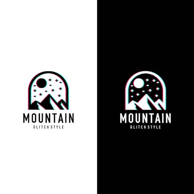 Mountain glitcher style logo Premium Vector