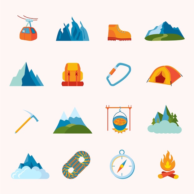 Mountain hiking climbing skiing equipment icons\ flat set isolated vector illustration