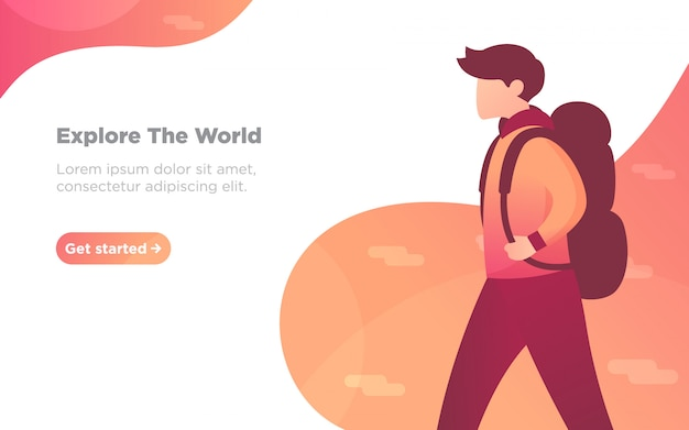 Mountain hiking landing page illustration Premium Vector