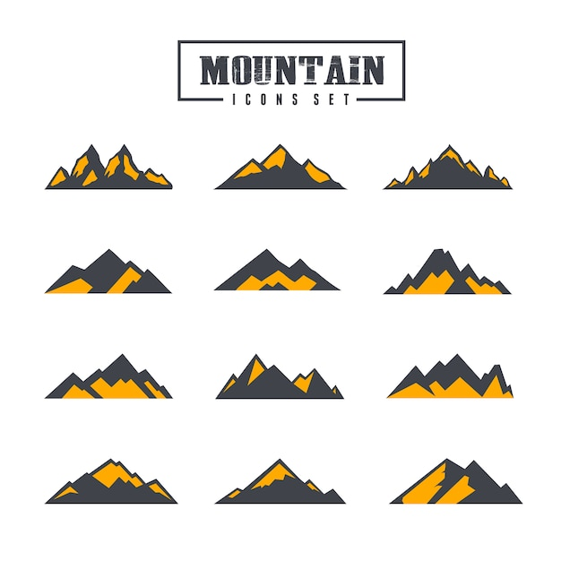 Mountain icons collection Free Vector