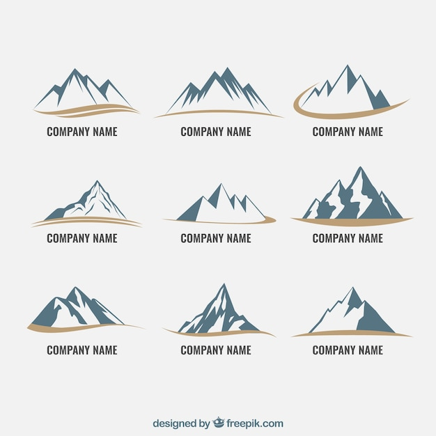 Mountain icons Free Vector