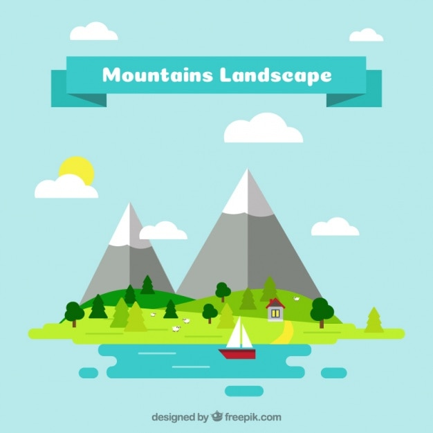 Mountain landscape background and sea in flat design for Flat design pictures