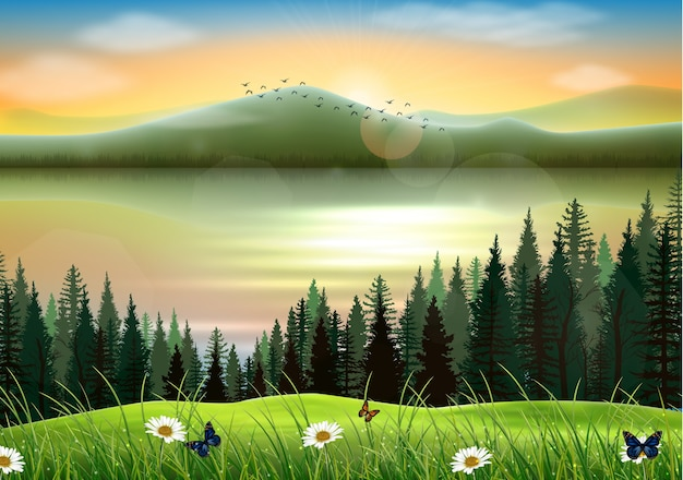 Mountain landscape background with lake at sunset Premium Vector