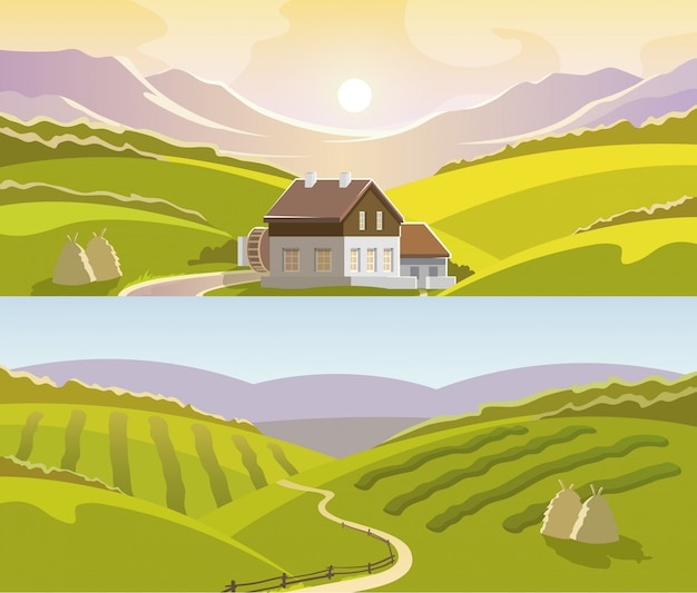 Mountain landscape banner set Free Vector