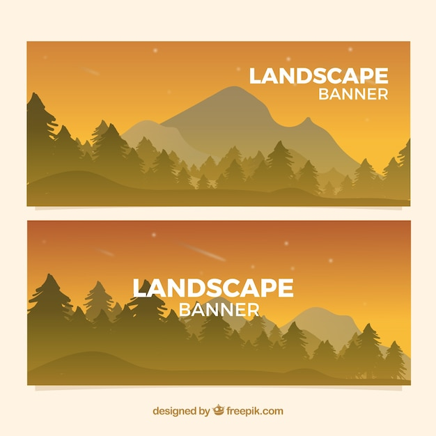 Mountain landscape banners at sunset