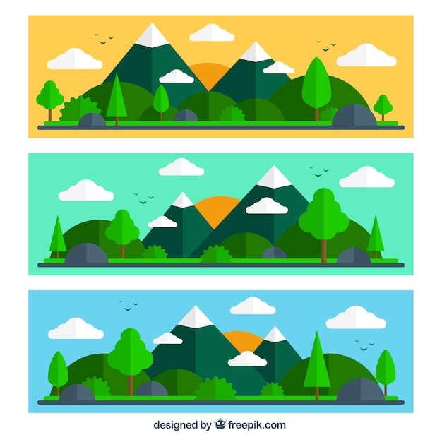 Mountain landscape banners in flat design