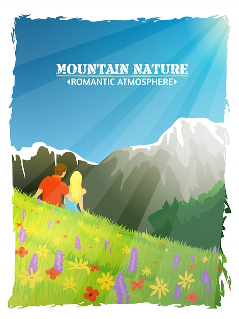 Mountain landscape nature romantic background poster Free Vector