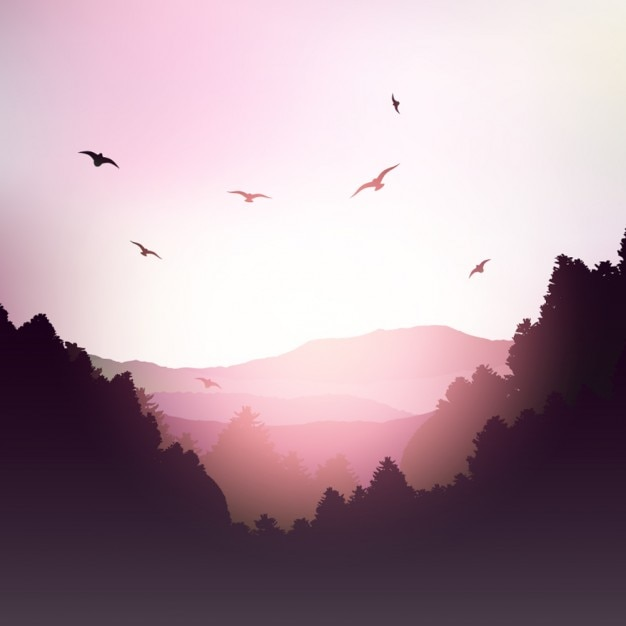 Mountain landscape in pink tones Free Vector
