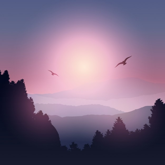 Mountain landscape silhouette vector free download Mountain silhouette
