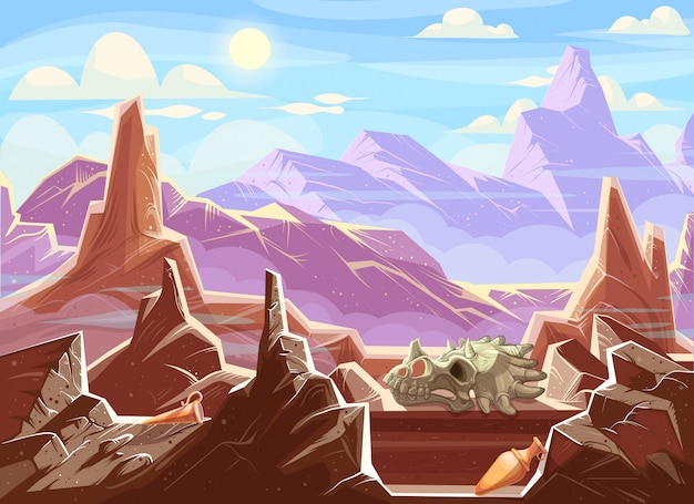 Mountain landscape with archaeological fossils Free Vector