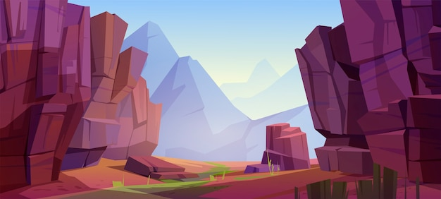 Mountain landscape with canyon, red dry ground and green grass on old riverbed. cartoon illustration of nature park with gorge, stone cliffs and rocks. grand canyon national park Free Vector