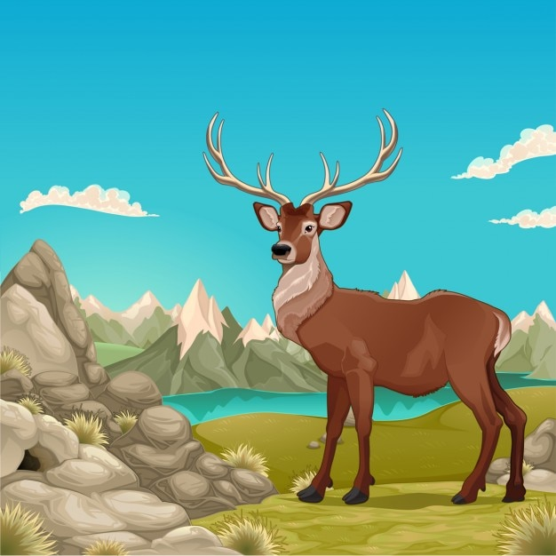 Mountain landscape with a deer Free Vector