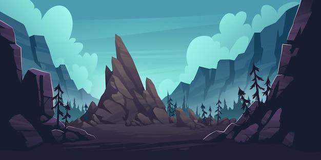 森と孤独な崖のある山の風景。 無料ベクター