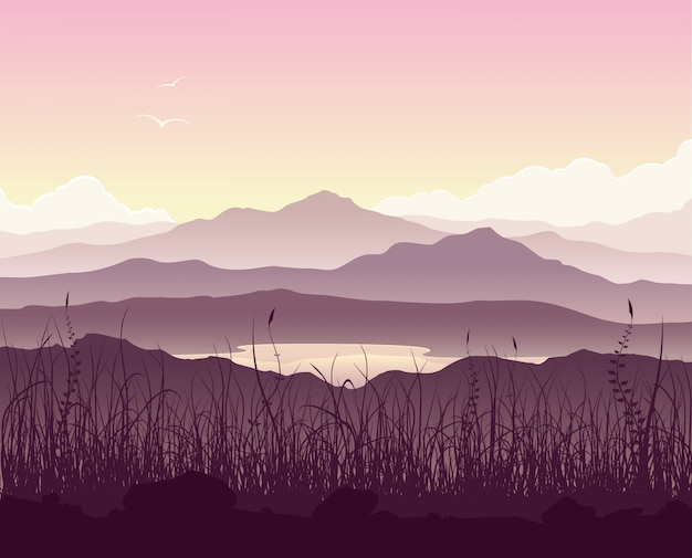 Mountain landscape with grass and huge lake Premium Vector