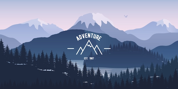 Mountain landscape with reflection in the lake. Premium Vector