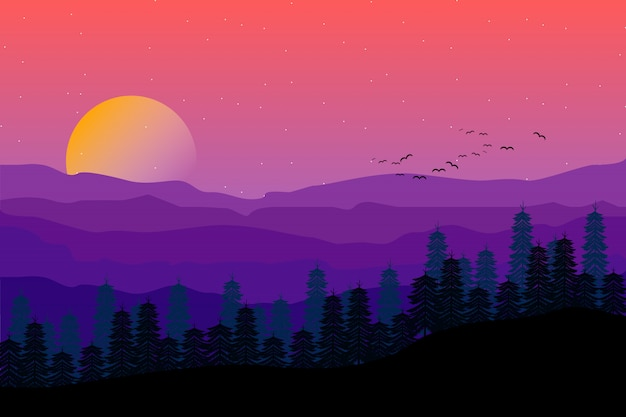 Mountain landscape with starry purple night sky illustration Premium Vector