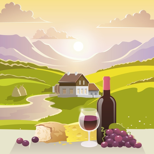Mountain landscape with wine and cheese Free Vector