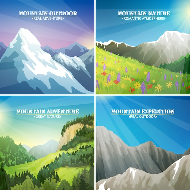 Mountain landscapes 4 flat icons square Free Vector