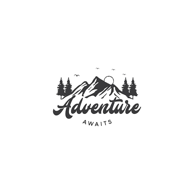 Mountain logo for adventure and outdoor logo design Premium Vector