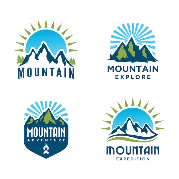 Mountain and outdoor adventures logo design set. tourism and hiking labels Premium Vector