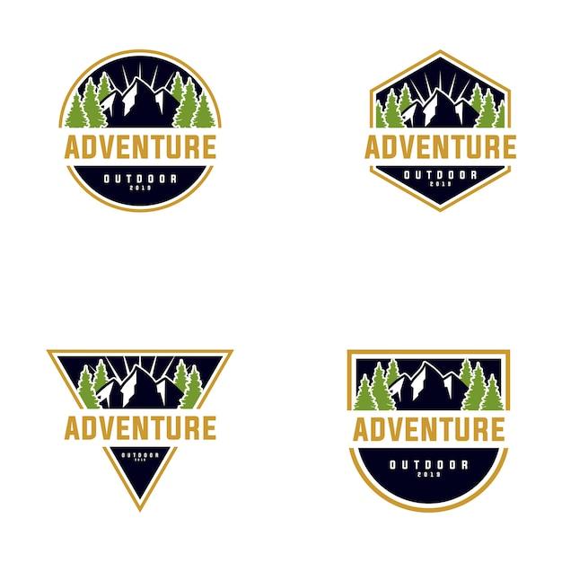 Коллекция дизайна логотипа mountain outdoor Premium векторы