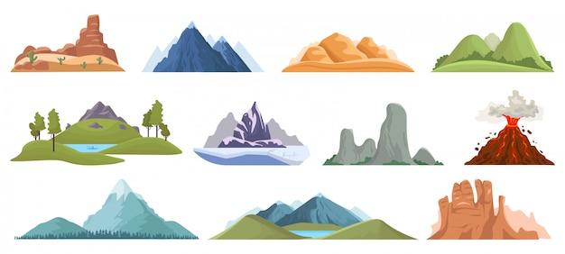 Горные вершины. снежные ледяные вершины, зеленые холмы и открытый ландшафт вулкана, походы, восхождение на горную долину. скалистые горы, верхняя местность, дикая вершина под открытым небом Premium векторы