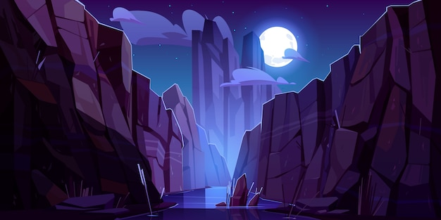 Mountain river in canyon at night Free Vector