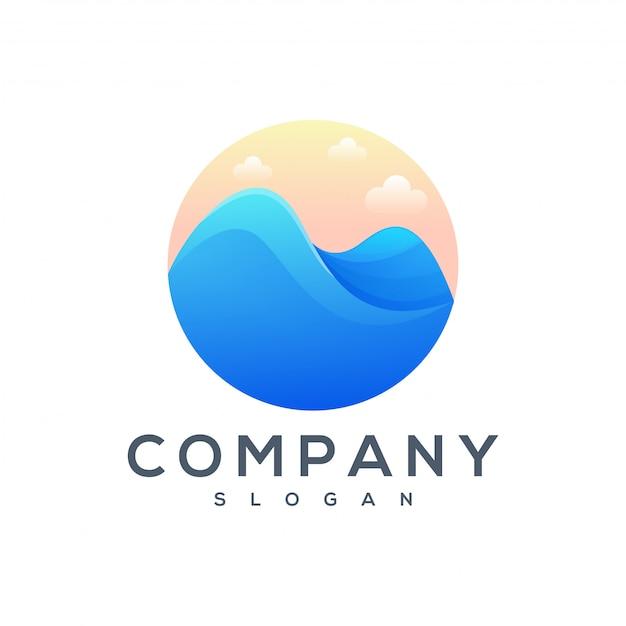 Mountain sea logo design Premium Vector