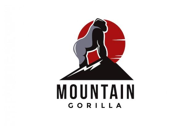 Mountain and silverback gorilla logo vector Premium Vector