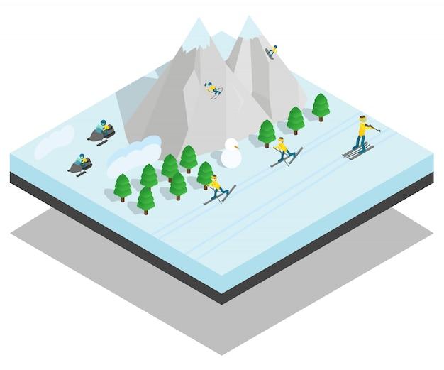 Mountain sport concept scene Premium Vector