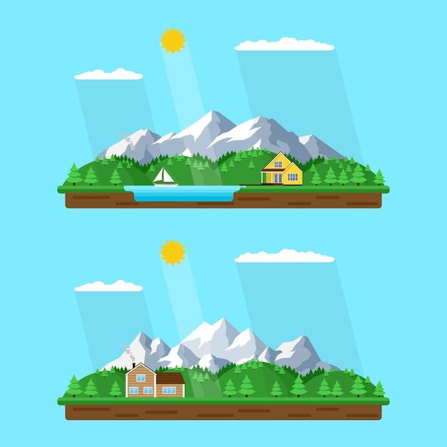 산 여름 풍경 세트, 스타일 일러스트, 배경, 숲 호수, 산과 나무 사이 평화로운 마을에서 산 숲에 집 프리미엄 벡터
