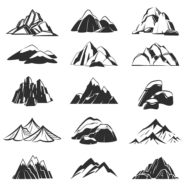 Горные символы. силуэт горы с хребтом снега Premium векторы
