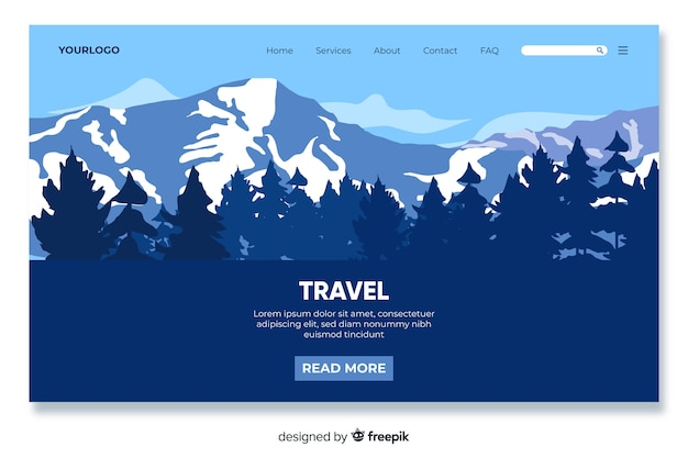 Mountain themed travel landing page Free Vector