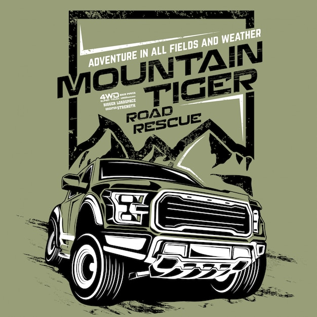 Mountain tiger road rescue, illustration of offroad adventure car Premium Vector