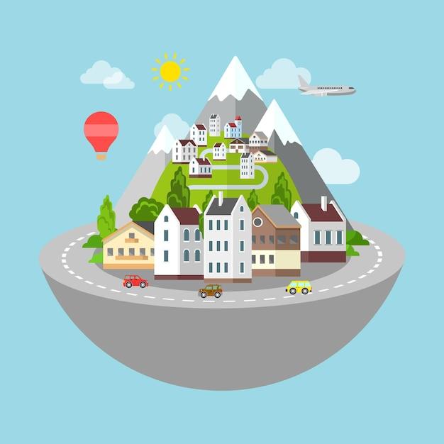 Горная деревня и городская дорога микропланета путешествия концепция. Бесплатные векторы