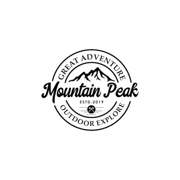 Mountain vintage logo template Premium Vector