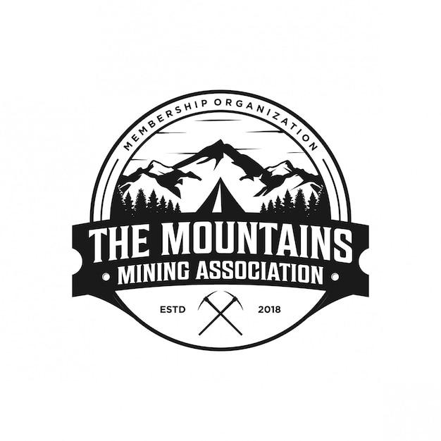 Mountain vintage logo Premium Vector
