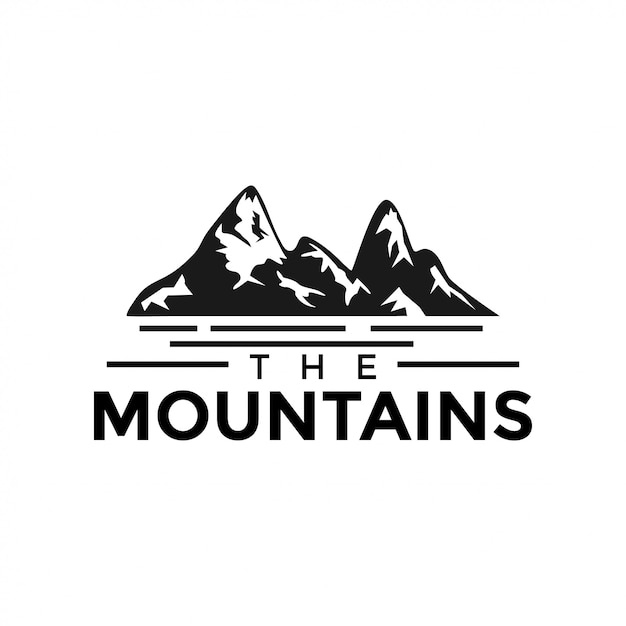 Mountain and water surface graphic design template vector Premium Vector