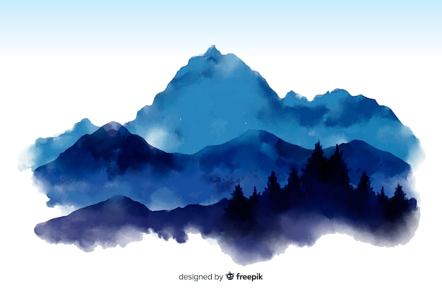 Mountain watercolor view background Free Vector