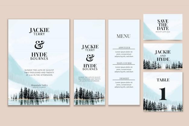 Mountain watercolor wedding stationery Premium Vector