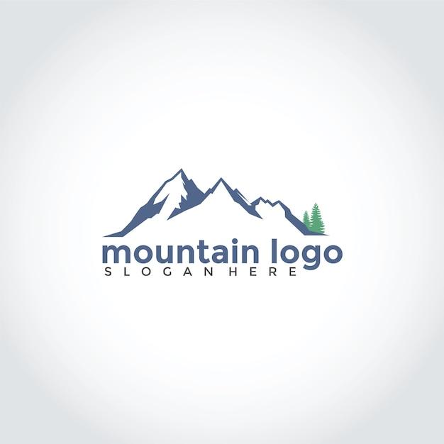 Mountain with spruce logo design Premium Vector