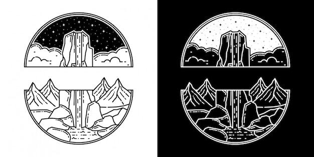 滝モノラインデザインの山 Premiumベクター