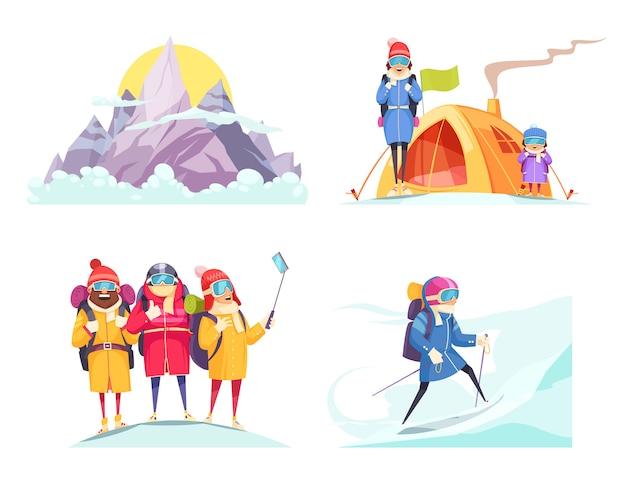 登山漫画4デザインコンセプト上に分離された高山登山家テントselfieの正方形 無料ベクター