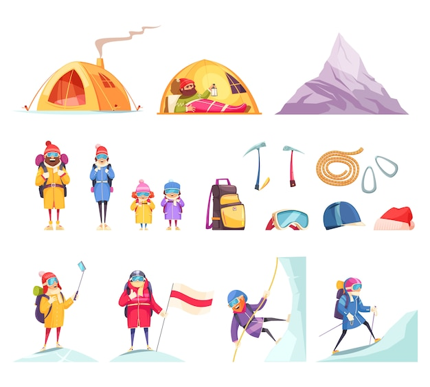 Mountaineering cartoon set with climbers gear equipment clothing tent helmet ice axes rope mountain Free Vector