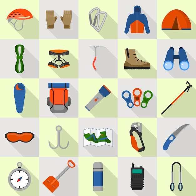Mountaineering equipment icons set. flat set of mountaineering equipment icons for web design Premium Vector