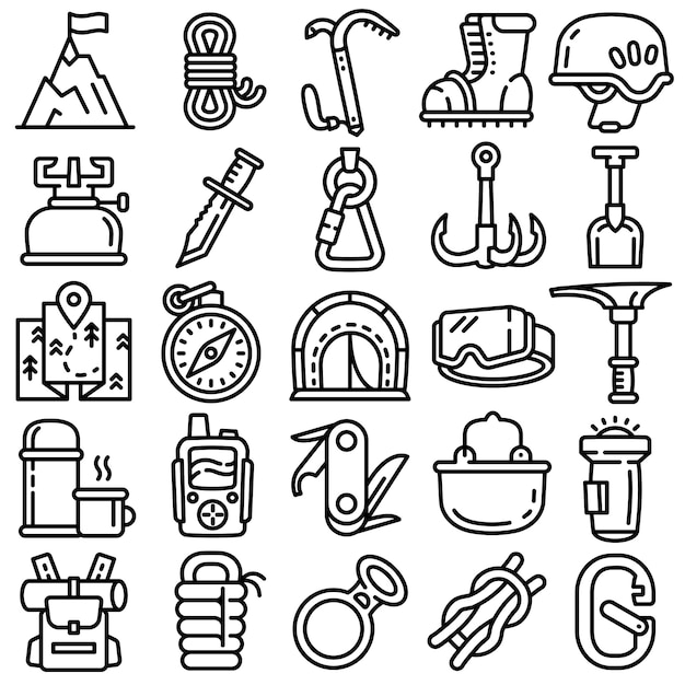 Mountaineering equipment icons set, outline style Premium Vector